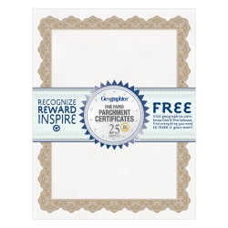 "Geographics Parchment Certificates, 8-1/2"" x 11"", Optima Gold, Pack Of 25"