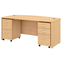 "Bush Business Furniture Studio C Bow Front Desk With Mobile File Cabinets, 72""W, Natural Maple, Standard Delivery"