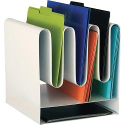 "Safco Wave Desktop File Organizers - 7 Compartment(s) - 10"" Width x 11.5"" Depth - Desktop - Magnetic - White - Steel - 1 Each"