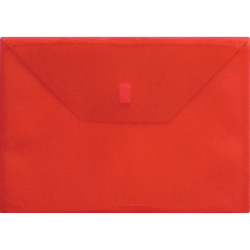 """Lion Hook and Loop Closure Poly Envelopes - Letter - 8 1/2"""" x 11"""" Sheet Size - 180 Sheet Capacity - Polypropylene - Transparent, Red - Recycled - 1 Each"""