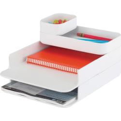 "Safco Stacking Plastic Desktop Sorter Sets - 4 Compartment(s) - 6.3"" Height x 10"" Width x 12.3"" Depth - Desktop - White - Acrylonitrile Butadiene Styrene (ABS) - 1Each"