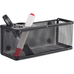 "Onyx Mesh Magnetic Marker Basket - 3"" Height x 8"" Width x 3.3"" Depth - Sturdy - Black - Steel, Mesh - 1 Each"