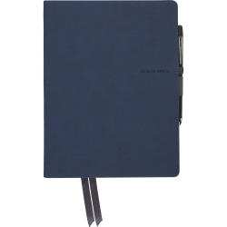 """Mead Casebound Premium Notebook - 80 Sheets - 9.9"""" x 7.6""""0.6"""" - Navy Cover - Index Sheet, Perforated, Pocket - 1Each"""