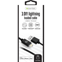 DigiPower Lightning/USB Data Transfer Cable - 10 ft Lightning/USB Data Transfer Cable for iPod, iPad, iPhone - USB - Lightning Proprietary Connector - Black - 1 Pack