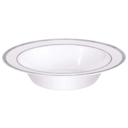 "Amscan Premium Plastic Bowls, 7-1/2"", Clear With Silver Trim, 10 Bowls Per Pack, Set Of 2 Packs"