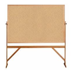 "Ghent 2-Sided Cork Bulletin Board, 78"" x 77"", Brown Wood Frame"