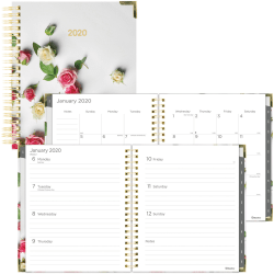 """Blueline Romantic Roses Planner - Julian Dates - Weekly, Monthly - 1 Year - January 2021 till December 2021 - 1 Week, 1 Month Double Page Layout - 8"""" x 11"""" Sheet Size - Twin Wire - Floral"""
