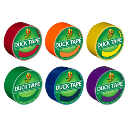 "Duck® Brand Color Duct Tape Rolls, 1-15/16"" x 115 Yd, Rainbow Combo, Pack Of 6 Rolls"