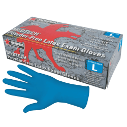 Memphis Glove MedTech Disposable Powder-Free Latex Exam Gloves, Large, Blue, Case Of 500 Gloves