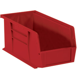"""Office Depot® Brand Plastic Stack & Hang Bin Boxes, Small Size, 10 7/8"""" x 5 1/2"""" x 5"""", Red, Pack Of 12"""