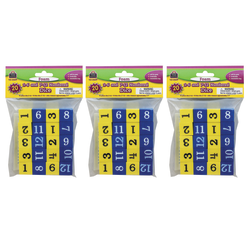 """Teacher Created Resources Foam 1-12 Numbered Dice, 3/4"""", Blue/Yellow, 20 Dice Per Pack, Case Of 3 Packs"""