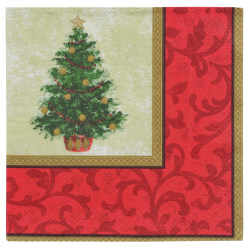 "Amscan Classic Christmas Tree 2-Ply Lunch Napkins, 6-1/2"" x 6-1/2"", Red/Green, 16 Napkins Per Pack, Set Of 5 Packs"
