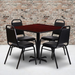 """Flash Furniture Square Table With 4 Trapezoidal-Back Banquet Chairs, 30"""" x 36"""", Mahogany/Black"""