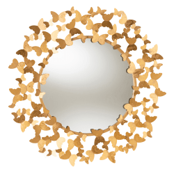 """Baxton Studio Butterfly Round Accent Wall Mirror, 36"""", Antique Gold"""