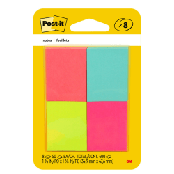 Self stick notes in small 1 3/8 in. x 1 7/8 in. size. Eight pads per pack, 50 sheets per pad