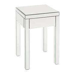 Ave Six Reflections Table, End, Square, Silver Mirror