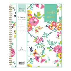 "Blue Sky™ Day Designer Academic Weekly/Monthly CYO Planner, 8-1/2"" x 11"", Peyton White/Gold Foil, July 2020 To June 2021, 107925-A"