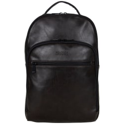"""Kenneth Cole Reaction Vegan Leather Backpack With 15.6"""" Laptop Pocket, Brown"""