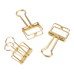 "Office Depot® Brand Metal Wire Binder Clips, 13/16"" x 1 5/8"", 75-Sheet Capacity, Gold, Pack Of 6 Clips"