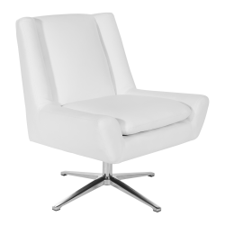 Office Star™ Faux Leather Guest Chair, White/Aluminum