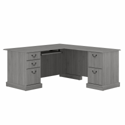 Bush Furniture Saratoga L-Shaped Computer Desk With Drawers, Modern Gray, Standard Delivery