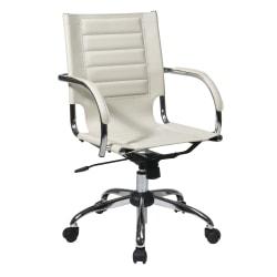 Ave Six Trinidad Vinyl Mid-Back Office Chair, Cream/Silver