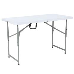 "Flash Furniture Height-Adjustable Bi-Fold Plastic Folding Table, 29-1/2""H x 23-1/2""W x 48""D, Granite White"