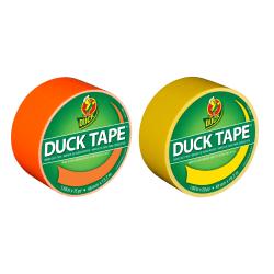 "Duck Brand Duct Tape Rolls, 1.88"" x 20 Yd/1.88"" x 15 Yd., Yellow/Neon Orange, Pack Of 2 Rolls"
