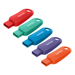 SanDisk® Cruzer™ Snap USB Flash Drives, 16GB, Assorted Colors, Pack Of 5 Flash Drives, SDCZ62-016G-A5MV