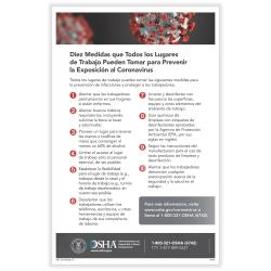 "ComplyRight™ Coronavirus (COVID-19) OSHA Reduce Risk In The Workplace Poster, Spanish, 11"" x 17"""
