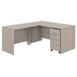 "Bush Business Furniture Studio C 60""W x 30""D L-Shaped Desk With Mobile File Cabinet And 42""W Return, Sand Oak, Premium Installation"