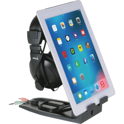 """Allsop Headset Hangout - Headset and Tablet Stand - 9.5"""" x 3.5"""" x 8"""" x - 1 Each - Black"""