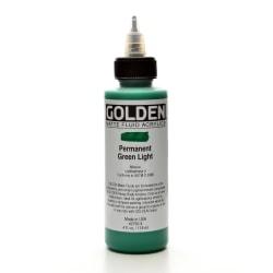 Golden Matte Fluid Acrylic Paint, 4 Oz, Permanent Green Light