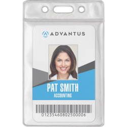 "Advantus Vinyl ID Badge Holders - Support 2.50"" x 3.50"" Media - Vertical - Vinyl - 50 / Pack - Clear"
