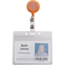 Advantus 4-Color Neon Set ID Card Reels - Metal, Plastic, Nylon - 20 / Pack - Neon Orange, Neon Yellow, Neon Green, Neon Pink