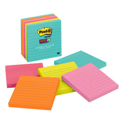 "Post-it® Super Sticky Notes, 4"" x 4"", Miami, Lined, Pack Of 6 Pads"