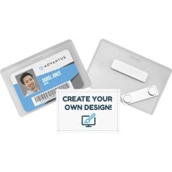 "Advantus DIY Magnetic Name Badge Kit - Horizontal - 3.8"" x 2.5"" x - Plastic - 20 / Pack - White, Clear"