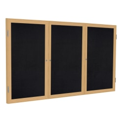 """Ghent 3-Door Enclosed Recycled Rubber Bulletin Board, 48"""" x 96"""", Black Oak Finish Wood Frame"""