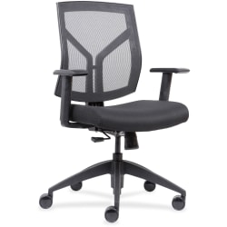 Lorell® Mesh/Fabric Mid-Back Chair, Black