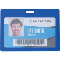 "Advantus Horizontal Rigid ID Badge Holder - Support 3.25"" x 2"" Media - Horizontal - Plastic - 6 / Pack - Blue"