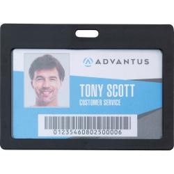 "Advantus Horizontal Rigid ID Badge Holder - Support 3.25"" x 2"" Media - Horizontal - Plastic - 6 / Pack - Black"