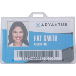 "Advantus Clear ID Card Holders - Support 3.38"" x 2.13"" Media - Horizontal - Plastic - 25 / Pack - Clear"
