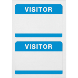 "Advantus Self-Adhesive Visitor Badges, Rectangle, 2-1/4"" x 3-1/2"", White/Blue, Box of 100"