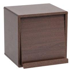 IRIS 2-Shelf Wood Storage Cube With Pocket Door, Brown Oak