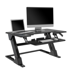 """Realspace® Pneumatic Desk Riser With Keyboard Tray, 19-5/16""""H x 35-7/16"""" x 20-1/2"""", Black"""