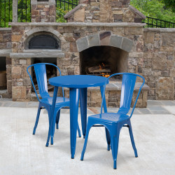"""Flash Furniture Round Metal Indoor-Outdoor Table Set With 2 Café Chairs, 29"""" x 24"""", Blue"""
