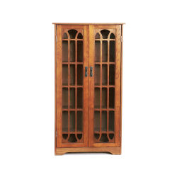Southern Enterprises Window-Pane Media Cabinet, Oak