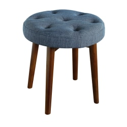 Elle Décor Penelope Round Tufted Stool, Deep Slate Blue/Brown