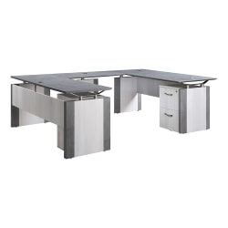 """Forward Furniture Allure Double-Pedestal U-Desk With Box And File Pedestals, 30""""H x 66""""W x 96""""D, Stormy Gray/Ashwood White"""