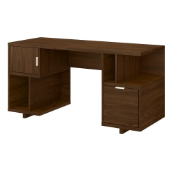 "kathy ireland® Home by Bush Furniture Madison Avenue 60""W Computer Desk With Drawer/Storage Shelves/Door, Modern Walnut, Standard Delivery"